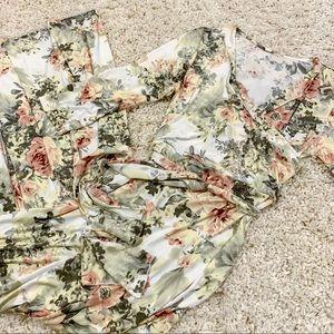 PinkBlush Ivory Floral Wrap Maxi Maternity Dress